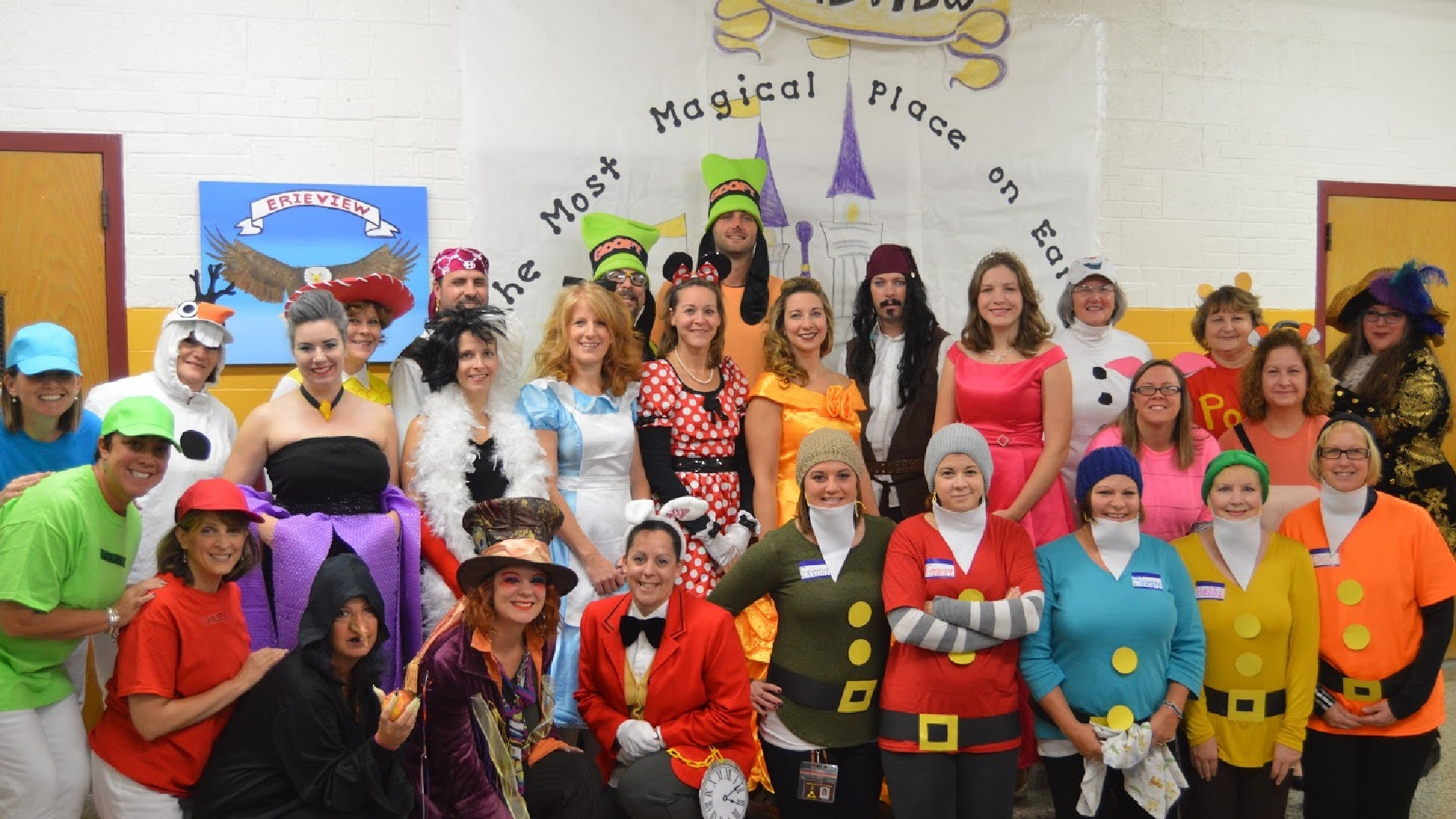 picture of Erieview teachers dressed as Disney characters