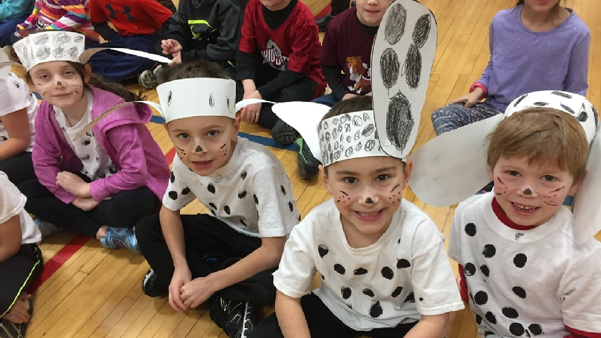 picture of students dressed as dalmation dogs