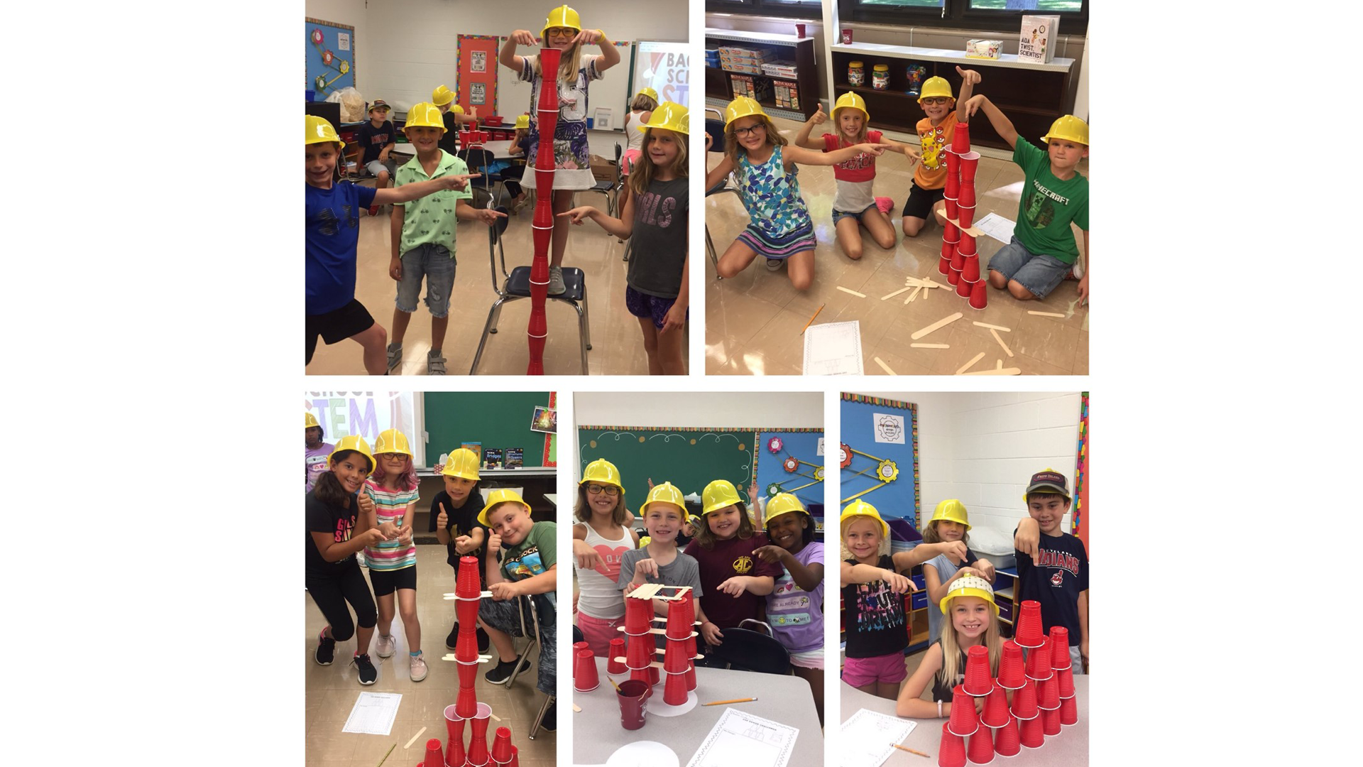 Redwood Students building with cups - STEM