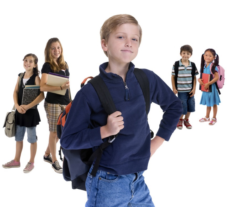 Students with backpacks and books